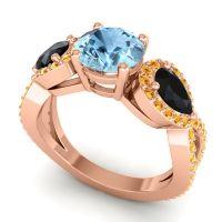 Three Stone Pave Varsa Aquamarine Ring with Black Onyx and Citrine in 18K Rose Gold