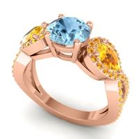 Three Stone Pave Varsa Aquamarine Ring with Citrine in 14K Rose Gold