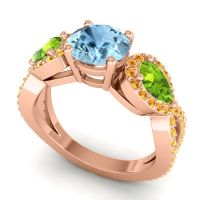 Three Stone Pave Varsa Aquamarine Ring with Peridot and Citrine in 14K Rose Gold