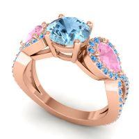 Three Stone Pave Varsa Aquamarine Ring with Pink Tourmaline and Swiss Blue Topaz in 14K Rose Gold