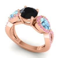 Three Stone Pave Varsa Black Onyx Ring with Aquamarine and Pink Tourmaline in 18K Rose Gold