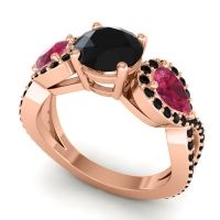 Black Onyx Three Stone Pave Varsa Ring with Ruby in 14K Rose Gold