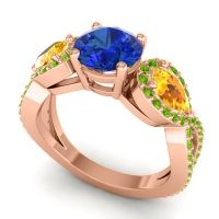Three Stone Pave Varsa Blue Sapphire Ring with Citrine and Peridot in 14K Rose Gold