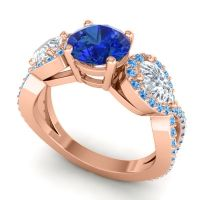 Three Stone Pave Varsa Blue Sapphire Ring with Diamond and Swiss Blue Topaz in 18K Rose Gold