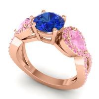 Three Stone Pave Varsa Blue Sapphire Ring with Pink Tourmaline in 14K Rose Gold
