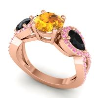 Three Stone Pave Varsa Citrine Ring with Black Onyx and Pink Tourmaline in 18K Rose Gold