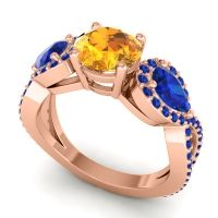 Three Stone Pave Varsa Citrine Ring with Blue Sapphire in 18K Rose Gold
