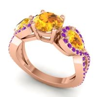 Three Stone Pave Varsa Citrine Ring with Amethyst in 18K Rose Gold