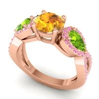 Three Stone Pave Varsa Citrine Ring with Peridot and Pink Tourmaline in 18K Rose Gold