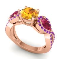 Three Stone Pave Varsa Citrine Ring with Ruby and Amethyst in 18K Rose Gold
