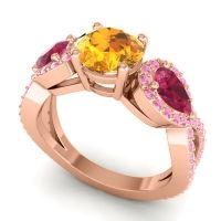 Three Stone Pave Varsa Citrine Ring with Ruby and Pink Tourmaline in 14K Rose Gold
