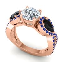 Three Stone Pave Varsa Diamond Ring with Black Onyx and Blue Sapphire in 18K Rose Gold