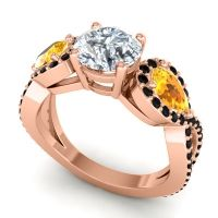 Diamond Three Stone Pave Varsa Ring with Citrine and Black Onyx in 14K Rose Gold