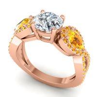 Three Stone Pave Varsa Diamond Ring with Citrine in 18K Rose Gold