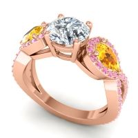 Three Stone Pave Varsa Diamond Ring with Citrine and Pink Tourmaline in 14K Rose Gold