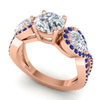 Three Stone Pave Varsa Diamond Ring with Blue Sapphire in 18K Rose Gold