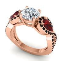 Three Stone Pave Varsa Diamond Ring with Garnet and Black Onyx in 14K Rose Gold