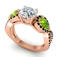 Diamond Three Stone Pave Varsa Ring with Peridot and Black Onyx in 14K Rose Gold