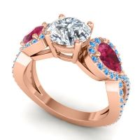 Three Stone Pave Varsa Diamond Ring with Ruby and Swiss Blue Topaz in 14K Rose Gold