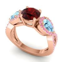 Three Stone Pave Varsa Garnet Ring with Aquamarine and Pink Tourmaline in 18K Rose Gold