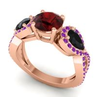 Three Stone Pave Varsa Garnet Ring with Black Onyx and Amethyst in 18K Rose Gold