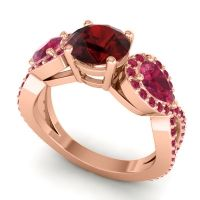 Three Stone Pave Varsa Garnet Ring with Ruby in 14K Rose Gold