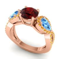 Three Stone Pave Varsa Garnet Ring with Swiss Blue Topaz and Citrine in 18K Rose Gold
