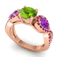 Three Stone Pave Varsa Peridot Ring with Amethyst and Ruby in 18K Rose Gold