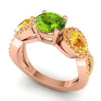 Three Stone Pave Varsa Peridot Ring with Citrine in 14K Rose Gold