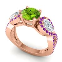Three Stone Pave Varsa Peridot Ring with Diamond and Amethyst in 14K Rose Gold