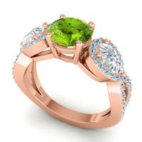 Three Stone Pave Varsa Peridot Ring with Diamond and Aquamarine in 14K Rose Gold