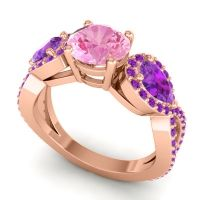 Three Stone Pave Varsa Pink Tourmaline Ring with Amethyst in 14K Rose Gold