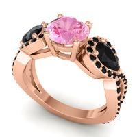 Pink Tourmaline Three Stone Pave Varsa Ring with Black Onyx in 14K Rose Gold
