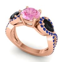 Three Stone Pave Varsa Pink Tourmaline Ring with Black Onyx and Blue Sapphire in 18K Rose Gold
