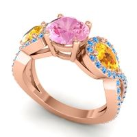 Pink Tourmaline Three Stone Pave Varsa Ring with Citrine and Swiss Blue Topaz in 14K Rose Gold