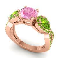 Three Stone Pave Varsa Pink Tourmaline Ring with Peridot in 14K Rose Gold