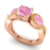 Pink Tourmaline Three Stone Pave Varsa Ring with Citrine in 14K Rose Gold