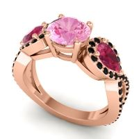 Pink Tourmaline Three Stone Pave Varsa Ring with Ruby and Black Onyx in 14K Rose Gold