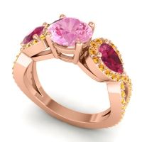 Pink Tourmaline Three Stone Pave Varsa Ring with Ruby and Citrine in 14K Rose Gold