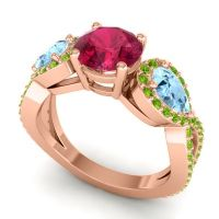 Three Stone Pave Varsa Ruby Ring with Aquamarine and Peridot in 14K Rose Gold