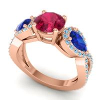 Three Stone Pave Varsa Ruby Ring with Blue Sapphire and Aquamarine in 18K Rose Gold