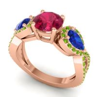 Three Stone Pave Varsa Ruby Ring with Blue Sapphire and Peridot in 18K Rose Gold