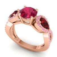 Three Stone Pave Varsa Ruby Ring with Garnet and Pink Tourmaline in 14K Rose Gold