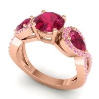 Three Stone Pave Varsa Ruby Ring with Pink Tourmaline in 18K Rose Gold