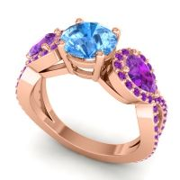 Three Stone Pave Varsa Swiss Blue Topaz Ring with Amethyst in 18K Rose Gold