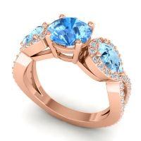 Three Stone Pave Varsa Swiss Blue Topaz Ring with Aquamarine and Diamond in 18K Rose Gold