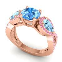 Three Stone Pave Varsa Swiss Blue Topaz Ring with Aquamarine and Pink Tourmaline in 14K Rose Gold