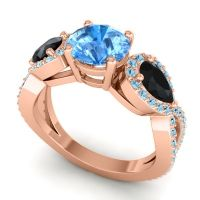 Three Stone Pave Varsa Swiss Blue Topaz Ring with Black Onyx and Aquamarine in 14K Rose Gold