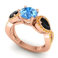 Three Stone Pave Varsa Swiss Blue Topaz Ring with Black Onyx and Citrine in 18K Rose Gold
