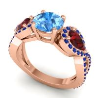 Three Stone Pave Varsa Swiss Blue Topaz Ring with Garnet and Blue Sapphire in 14K Rose Gold